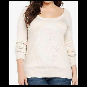 Sold Torrid oatmeal skull embroidery light sweater